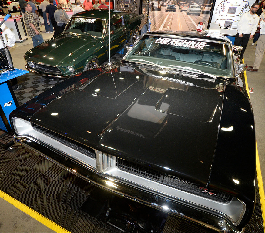 ". Nov 5,2013 Las Vegas NV. USA. The famous Steve McQueen movie ""Bulllit\"" car chase between the 1968 Mustang and Dodge scene to togehter during the first day of the 2013 SEMA auto show.