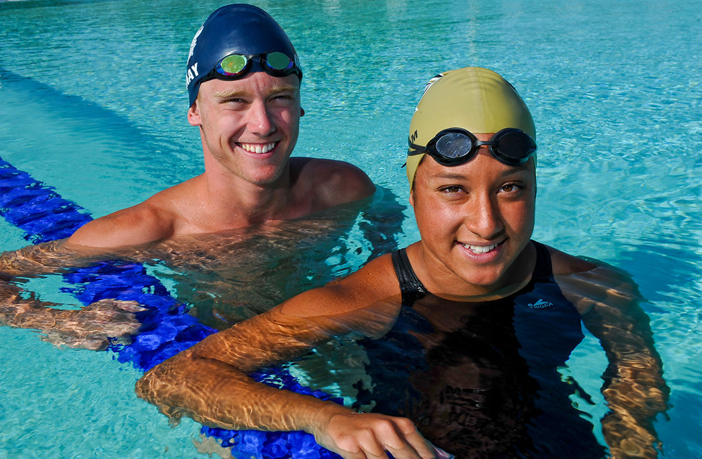 . Kyle Gornay, left, and Kailee Mora, have been named Swimmers of the Year for The Sun\'s All-Area swim team. Gornay is from Redlands High School and Mora is from Citrus Valley High School. Rachel Luna staff photo The Sun.
