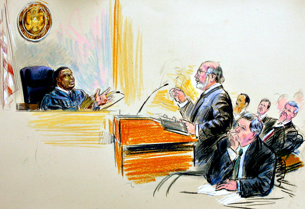". This artist rendering depicts U.S. District Judge Reggie B. Walton, left, hearing an argument on behalf of former White House aide I. Lewis ""Scooter\"" Libby by appellate attorney Lawrence S. Robbins, center, as Special Prosecutor Patrick Fitzgerald listens, bottom right with right hand to chin, in U.S. District Court in Washington, Thursday, June 14, 2007. At far right are depictions of Libby and his defense team; from right to left are: I. Lewis \""Scooter\"" Libby, attorney William Jeffress, and lead attorney Theodore Wells. (AP Photo/Dana Verkouteren)"