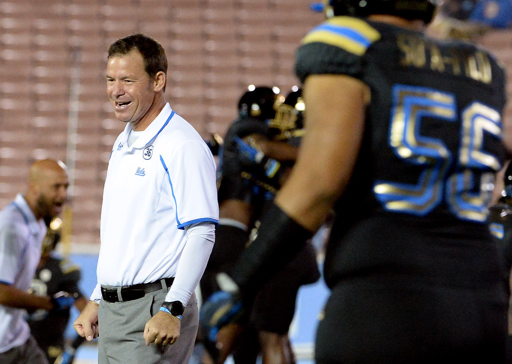 . UCLA Bruins head coach Jim Mora prior to their college football game against the Washington Huskies in the Rose Bowl in Pasadena, Calif., on Friday, Nov. 15, 2013. 