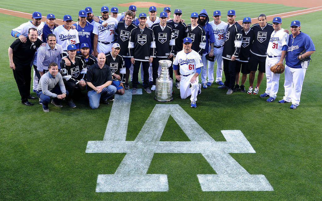 . Members of the Los Angeles Kings brought the Stanley Cup to Dodger Stadium for photographs before the Dodgers played the Colorado Rockies.  Los Angeles, CA. 6/18/2014(Photo by John McCoy Daily News)