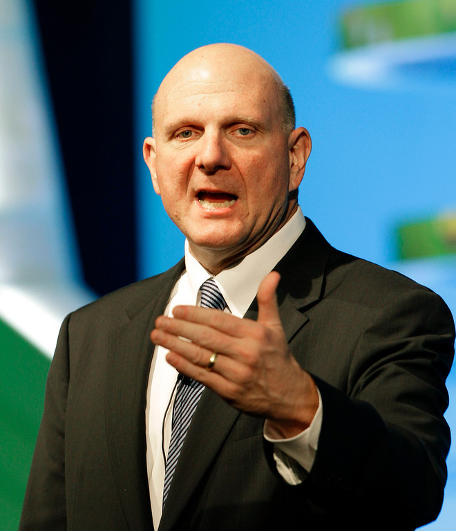 . In this Tuesday, May 22, 2012, file photo, Microsoft CEO Steve Ballmer delivers a speech during a Seoul Digital Forum in Seoul, South Korea.    (AP Photo/Lee Jin-man)