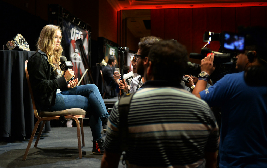 . UFC Women\'s Bantamweight Champion Ronda Rousey talks to reporters during Ultimate Media Day at the Mandalay Bay Events Center Thursday, July 3, 2014. (Photo by Hans Gutknecht/Los Angeles Daily News)