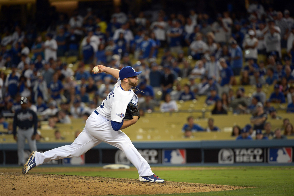 . Los Angeles Dodger\'s Paco Rodriguez pitches during game 3 of the NLDS at Dodger Stadium Sunday, October 6, 2013. (Photo by David Crane/Los Angeles Daily News)