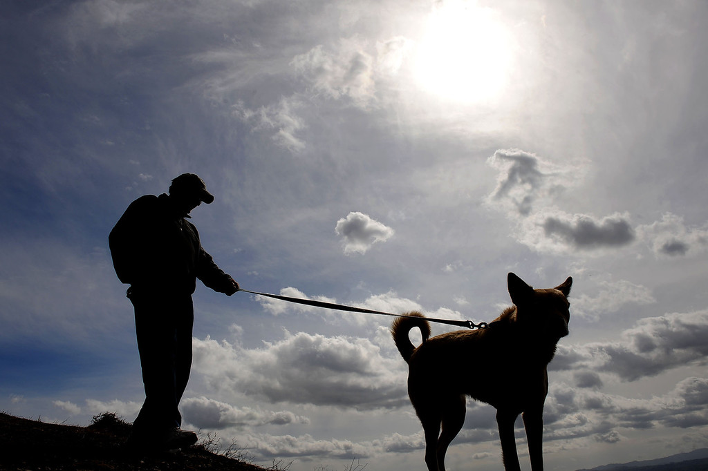 """. Clouds hover over the San Fernando Valley as John Nicsinger walks his dog \""""Dandy\"""" at Palisades Park in Porter Ranch, CA February 27, 2014.(Andy Holzman/Los Angeles Daily News)"""