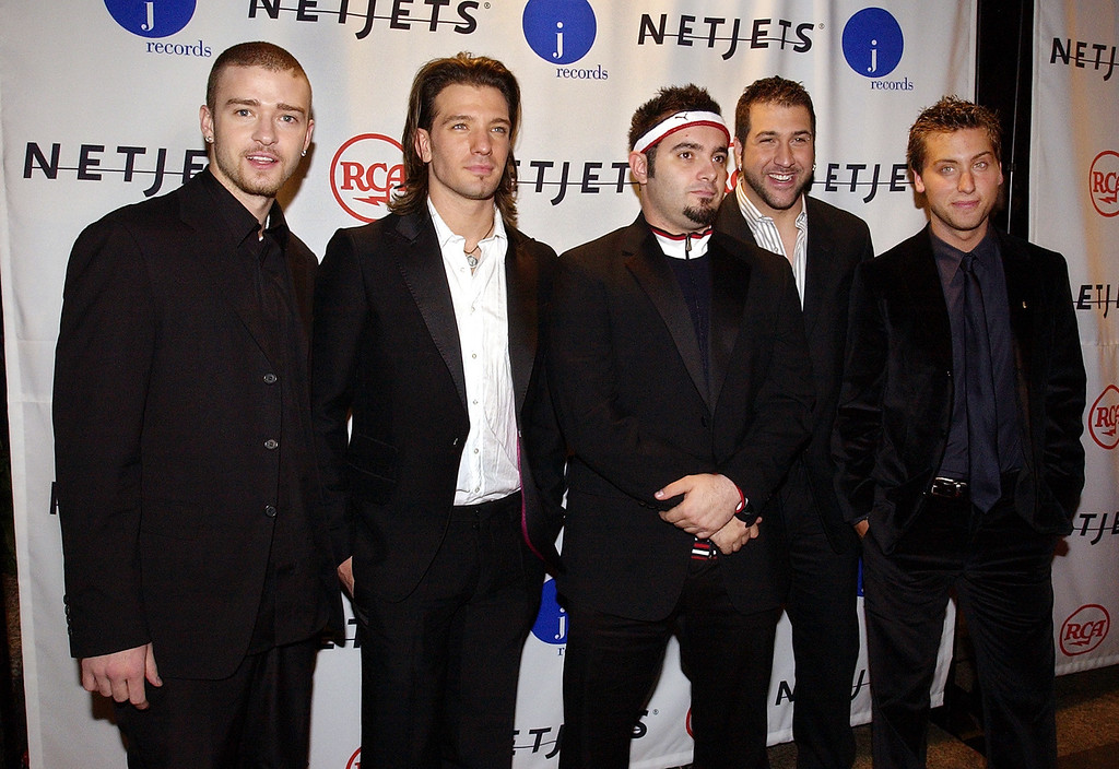 . Members of the pop group N\'Sync arrive at a pre-Grammys gala put on by music producer Clive Davis, Saturday night, Feb. 22, 2003, in New York. The Grammys will be handed out on Sunday. (AP Photo/Mark J. Terrill)