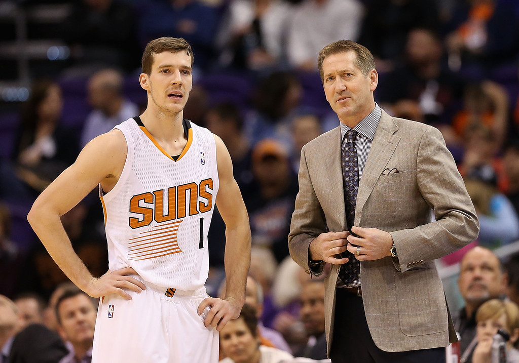 . Goran Dragic #1 and head coach Jeff Hornacek of the Phoenix Suns talk during the NBA game against the Los Angeles Lakers at US Airways Center on January 15, 2014 in Phoenix, Arizona. The Suns defeated the Lakers 121-114.   (Photo by Christian Petersen/Getty Images)