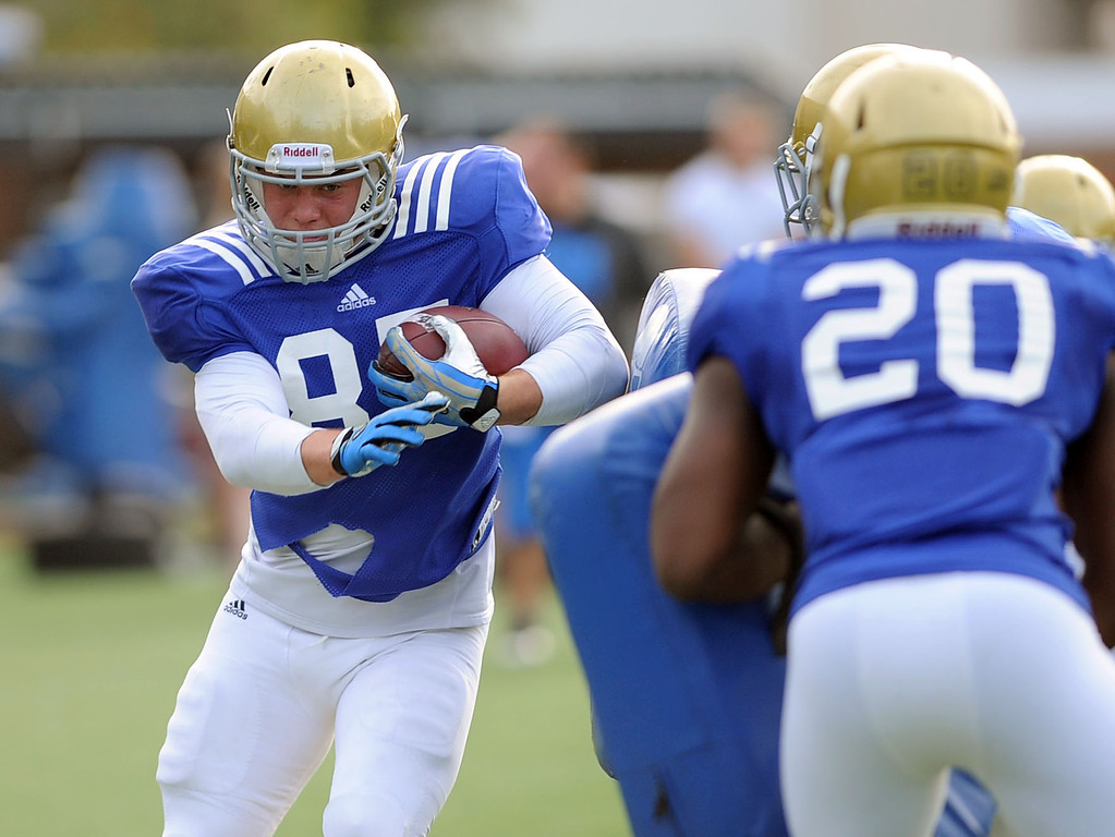 . UCLA\'s Spencer Atkins during practice April 9, 2014 in Westwood, CA.(Andy Holzman/Los Angeles Daily News)