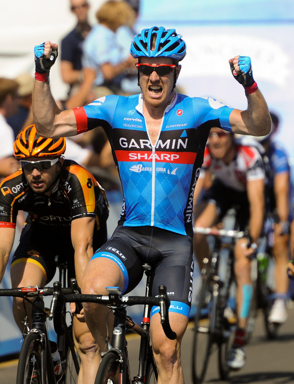 . American Tyler Farrar of team Garmin-Sharp wins Stage 4 of the Amgen Tour of California after a sprint in Santa Barbara, Wednesday, May 15, 2013. This was Farrar\'s first stage win in the Tour of California. (Michael Owen Baker/Staff Photographer)