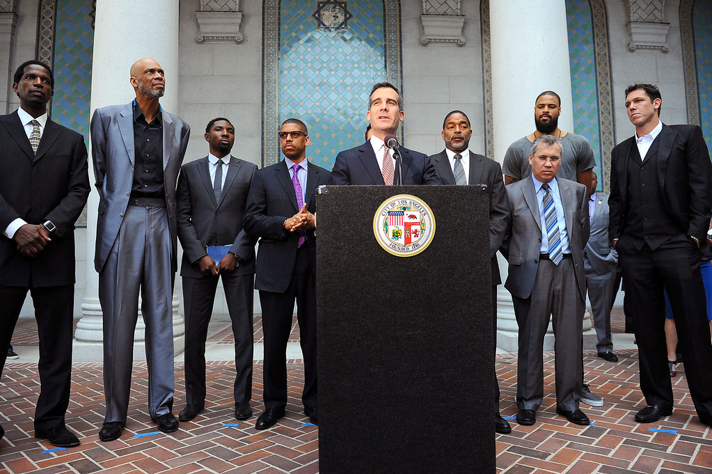 . Mayor Eric Garcetti speaks during a press conference at Los Angeles city hall regarding NBA Commissioner Adam Silver\'s banning of Donald Sterling for life from any association with the Clippers or the NBA  April 29, 2014.(Andy Holzman/Los Angeles Daily News)