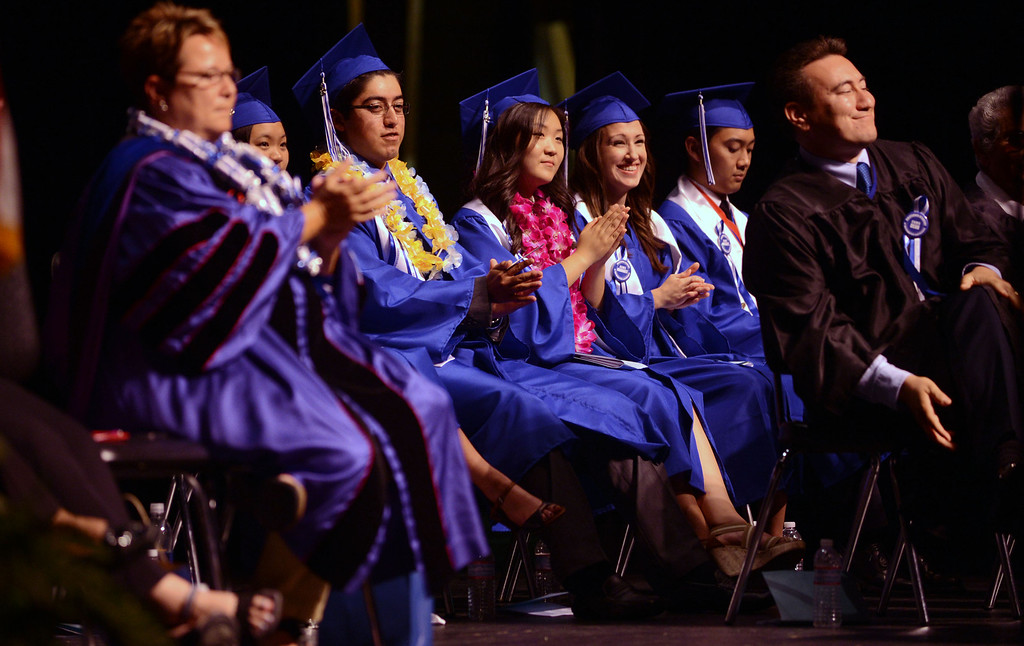 . Long Beach, Calif., -- 06-12-13- California Academy of Math and Sciences class of 2013 inside the Millikan High School Auditorium for the CAMS Twentieth Graduation Exercise Wednesday June 12, 2013.     Stephen Carr/  Los Angeles Newspaper Group