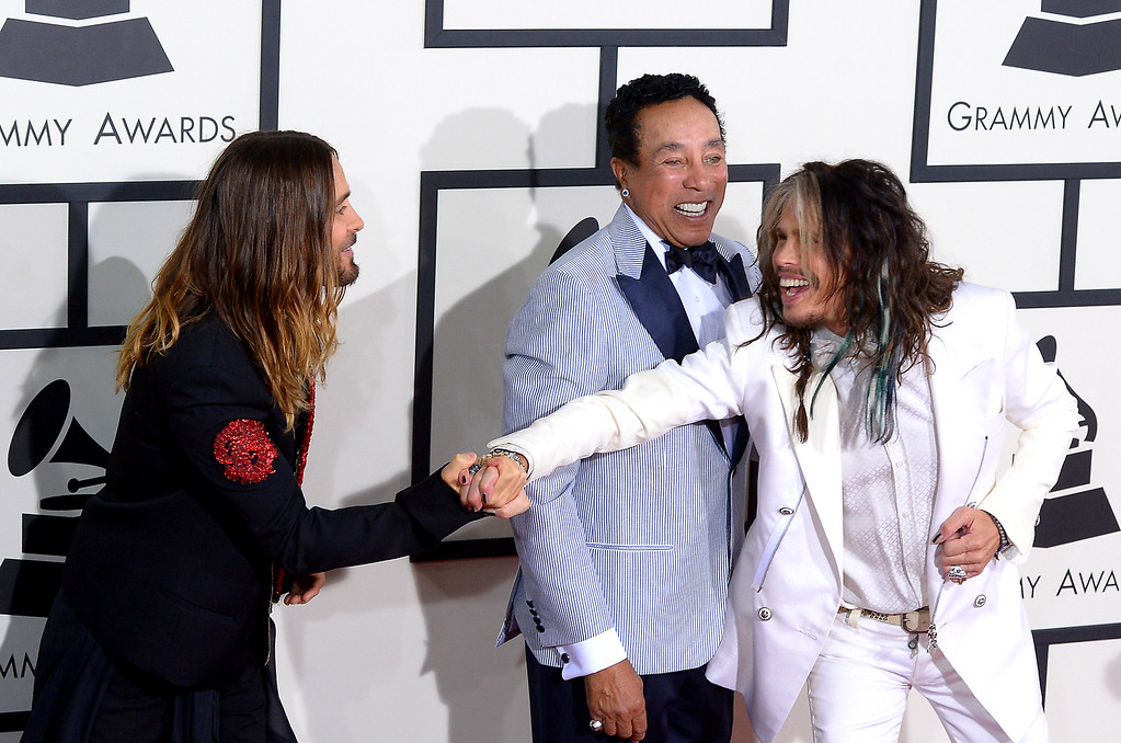 . Jared Leto, Smokey Robinson and Steven Tyler arrive at the 56th Annual GRAMMY Awards at Staples Center in Los Angeles, California on Sunday January 26, 2014 (Photo by David Crane / Los Angeles Daily News)