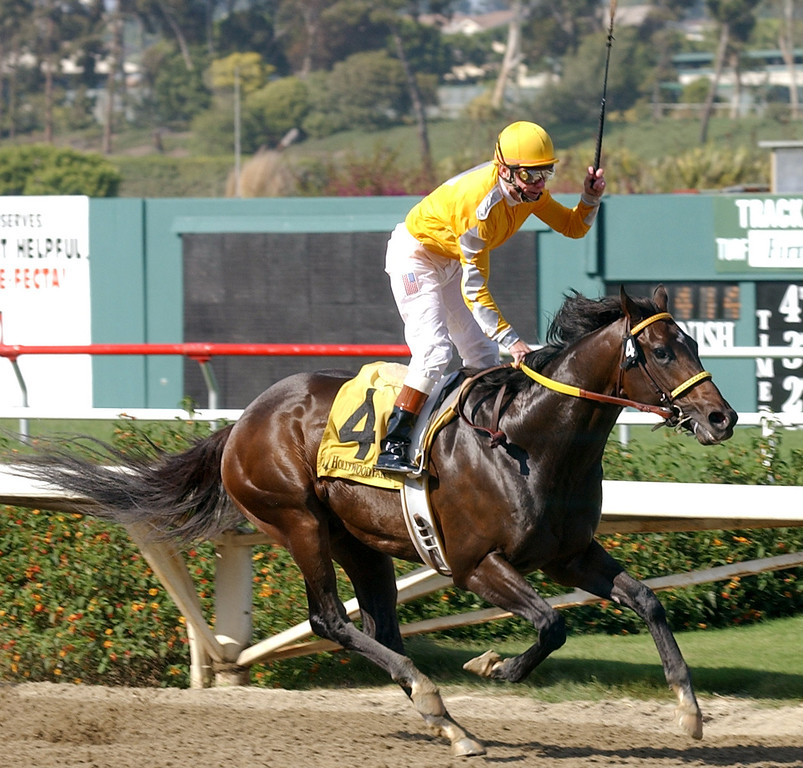 . Chris McCarron lifts his whip in victory after winning his final race as a jockey aboard Came Home in the Affirmed Stakes at Hollywood Park, Sunday, June 23, 2002, in Inglewood, Calif.  (AP Photo/Chris Pizzello)