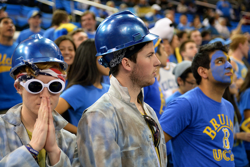 . UCLA students wait for the start of the game against Arizona, Thursday, January 9, 2014, at Pauley Pavilion. (Photo by Michael Owen Baker/L.A. Daily News)