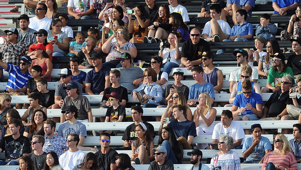 . Fans watch from the grandstands during the GoPro BMX Big Air Final at Irwindale Speedway on Friday, Aug. 2, 2013 in Irwindale, Calif. Morgan Wade won the gold medal.