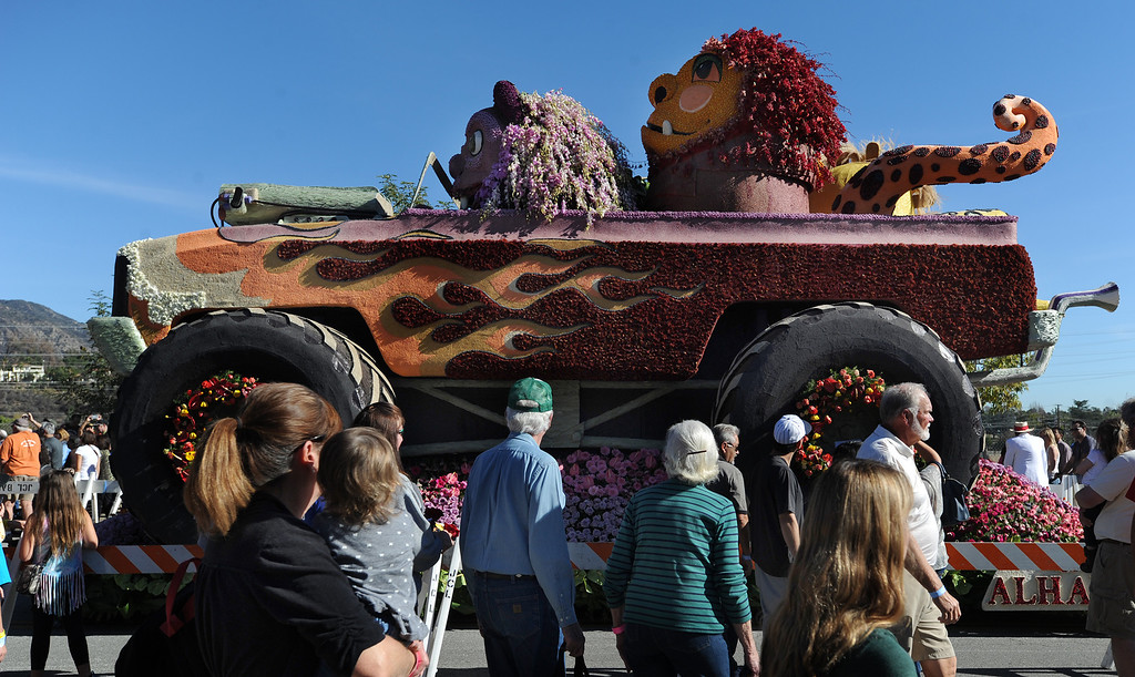 . The City of Alhambra float looked like it was in 4 wheel drive. The 125th Rose Parade\'s Showcase of Floats was staged on Sierra Madre Boulevard between Washington Boulevard and Sierra Madre Villa Avenue, and Washington Boulevard between Sierra Madre Boulevard and Woodlyn Road.  Pasadena, CA January 1, 2014.(John McCoy/Los Angeles Daily News)