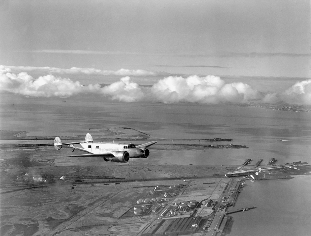 . Amelia Earhart takes the $80,000 flying laboratory for a trial run over San Francisco Bay, Oakland, Ca., March 13, 1937, for her around-the-world flight.  (AP Photo/Ernest King)