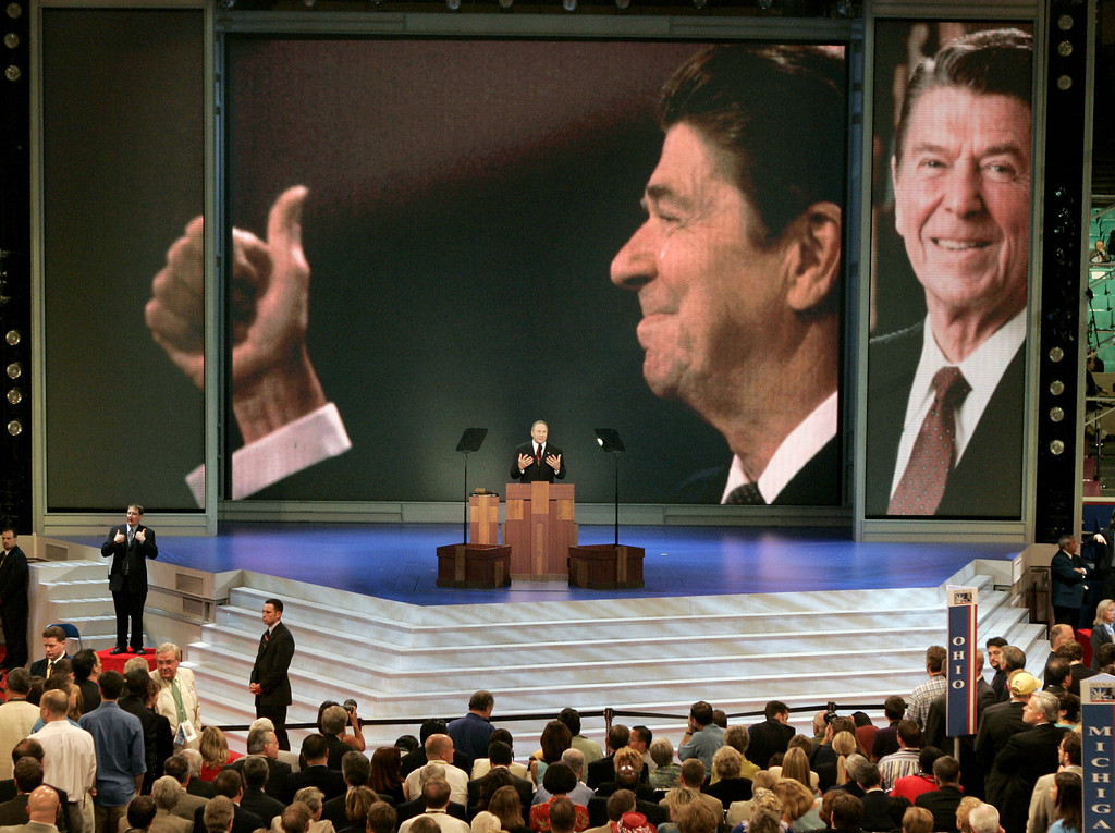 . In this  Sept. 1, 2004 file photo, Michael Reagan, son of former President Ronald Reagan, introduces a tribute to his father at the Republican National Convention Wednesday in New York.  (AP Photo/J. Scott Applewhite)