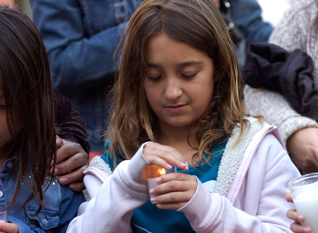 . Friends and family attend a candlelight vigil for Samantha Padilla Tuesday, May 7, 2013, near the corner of Euclid Ave and Schaefer Ave in Chino. Padilla passed away April 30 from injuries sustained during a car accident. Jennifer Cappuccio Maher/Staff Photographer
