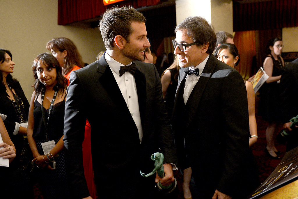 . Bradley Cooper and David O. Russell backstage at the 20th Annual Screen Actors Guild Awards  at the Shrine Auditorium in Los Angeles, California on Saturday January 18, 2014 (Photo by Michael Owen Baker / Los Angeles Daily News)