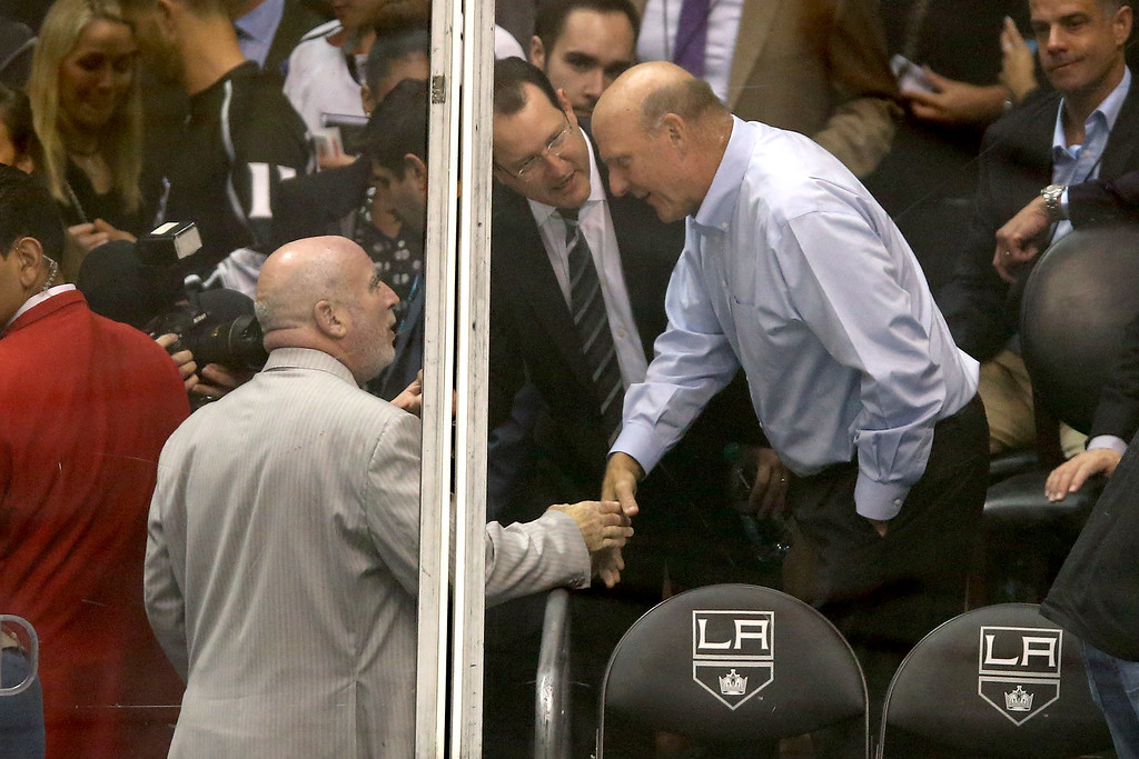 . Staples Center senior VP/GM Lee Zeidman shakes hands with Steve Ballmer, former Microsoft CEO, during Game Six of the Western Conference Final during the 2014 Stanley Cup Playoffs at Staples Center on May 30, 2014 in Los Angeles, California. Ballmer has agreed to pay $2 billion for the Los Angeles Clippers. (Photo by Jeff Gross/Getty Images)