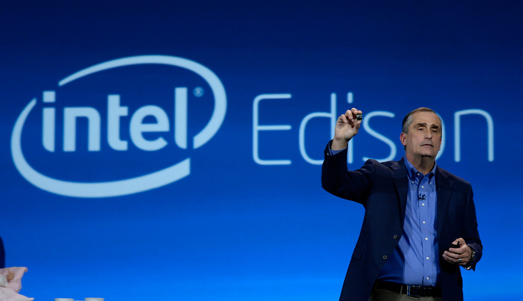 . Jan 6,2014.  Las Vegas NV. USA.  Intel CEO Brian Krzanich shows the new Intel Edison chip during the Intel keynote show at the 2014 CES media day show Monday. The 2014 CES show starts this Tuesday and runs till Friday with a estimated crowd of 150,000 to attend the show.. Photo by Gene Blevins/LA Dailynews