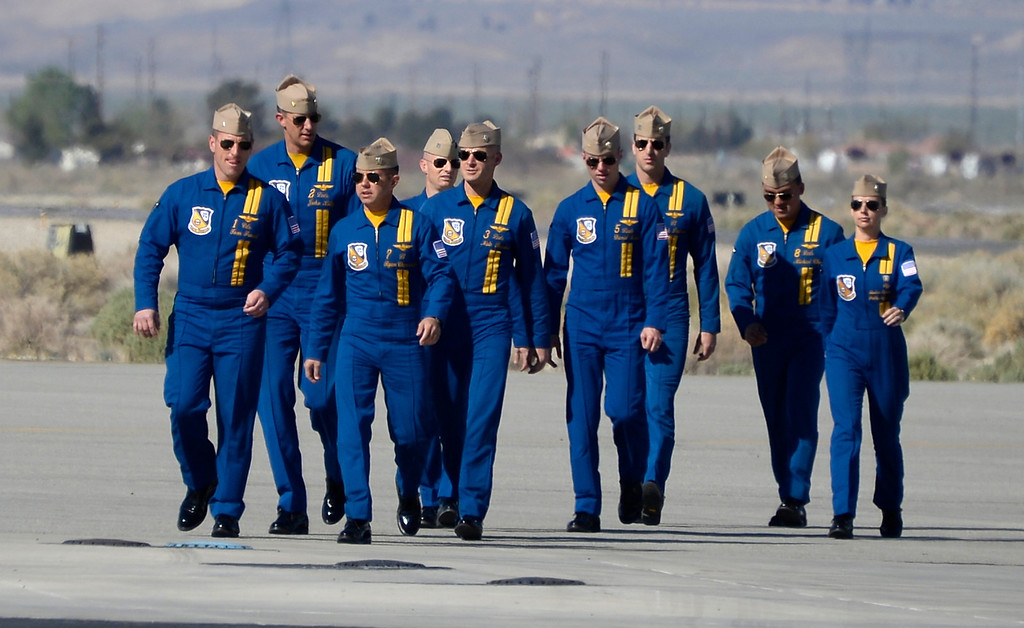 . March 19,2014. Lancaster CA. Pilots of US Navy Blue Angels arrive at Fox field Wednesday morning. The Los Angels County air show with the Blue Angels will happen this Friday and Saturday at Fox Field.  Photo   by Gene Blevins/LA DailyNews