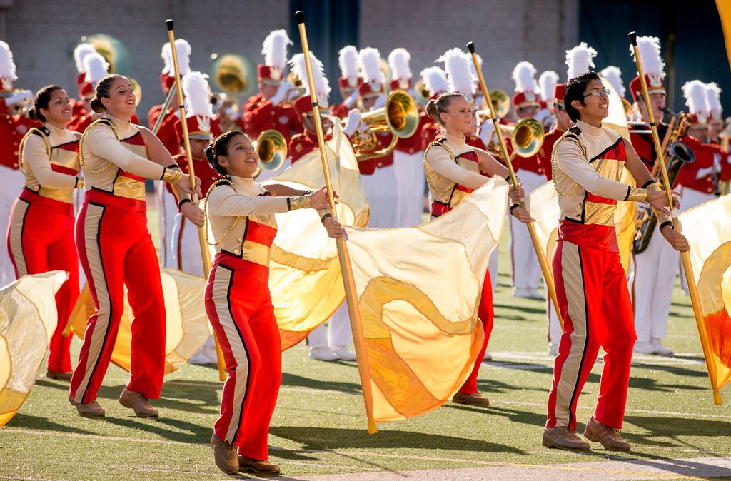 . PCC Tournament of Roses Honor Band and Herald Trumpets performs  during the Pasadena Tournament of Roses Bandfest I at Pasadena City College Dec. 29, 2013.   (Staff photo by Leo Jarzomb/Pasadena Star-News)
