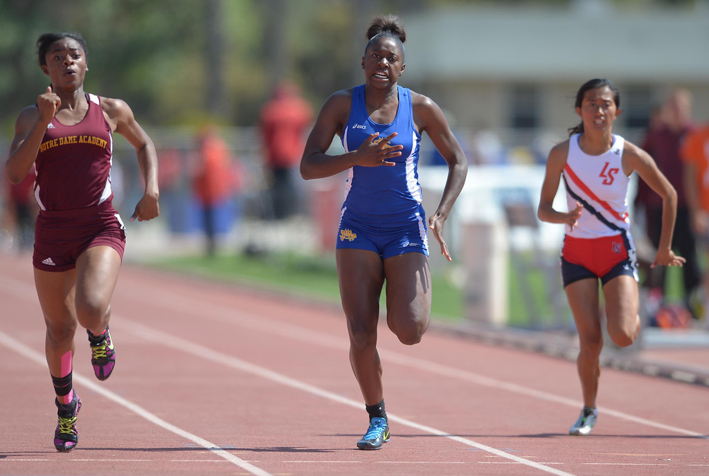 . St. Mary\'s Academy\'s Briana Shufford took third in the 400 meter Division 4 race of the CIF Southern Section Track and Field Championships Saturday at Mt. SAC. 20130518 Photo by Steve McCrank / Staff Photographer