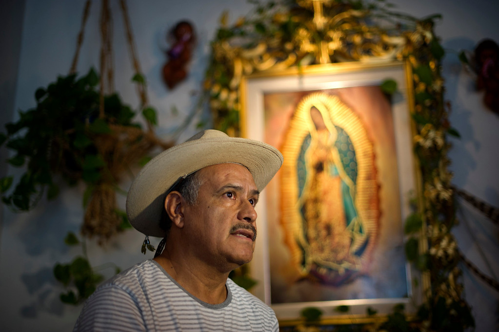 ". Mission Hills Artist Lalo Garcia is a devoted ""Guadalupano\"" who features the Catholic icon Our Lady of Guadalupe in much of his artwork."