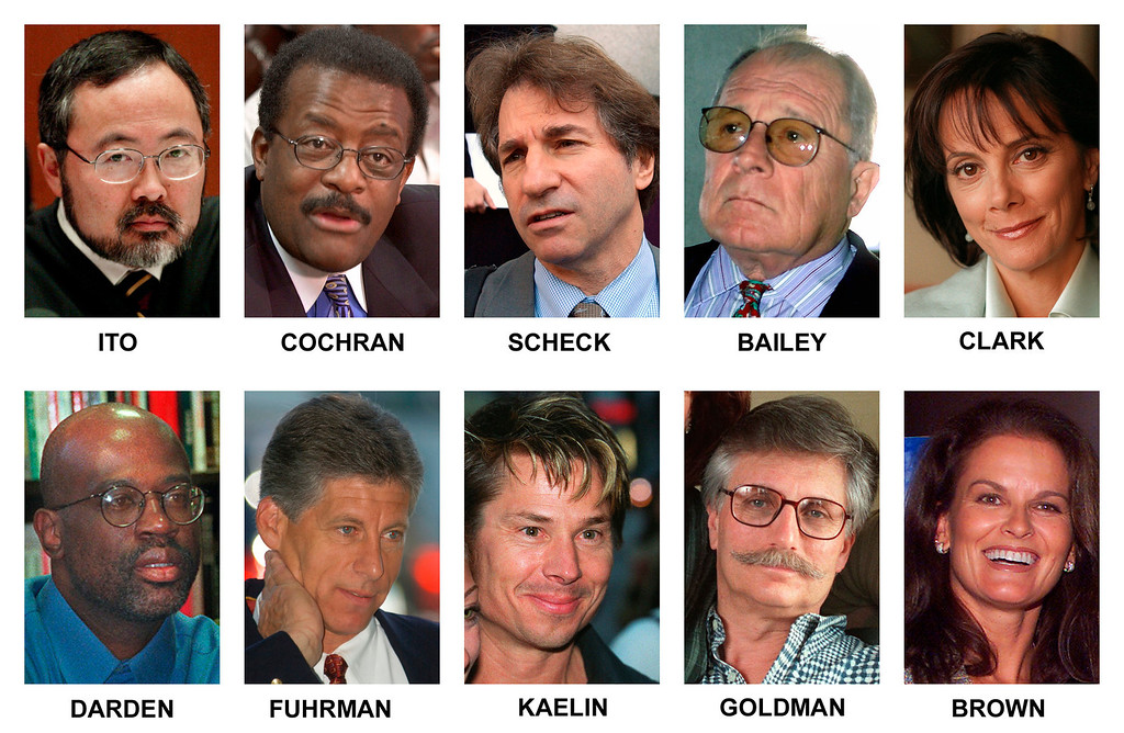 ". The televised courtroom saga of O.J. Simpson made household names of prosecutors, defense lawyers, family friends, even a houseguest. Pictured in this combination of file photos are some of those individuals: top row from left, Los Angeles Superior Court Judge Lance Ito; defense co-counsel Johnnie Cochran Jr.; defense DNA expert Barry Scheck; defense co-counsel F. Lee Bailey; lead prosecutor Marcia Clark. From left, bottom row; co-prosecutor Christopher Darden; former Los Angeles Police detective Mark Fuhrman; Simpson house guest Brian ""Kato\"" Kaelin; victim Ron Goldman\'s father Fred Goldman and sister of victim Nicole Brown Simpson, Denise Brown. Saturday, June 12, 2004, marks the 10-year anniversary of the murders Ron Goldman and Nicole Brown Simpson.  (AP Photo/Files)"
