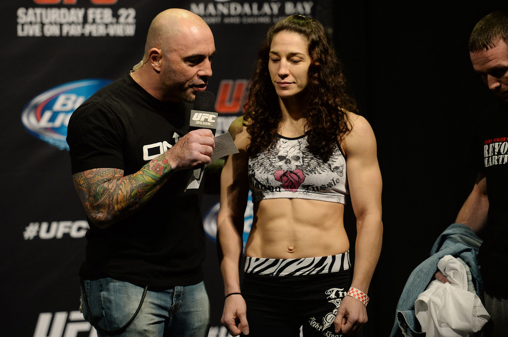. Sara McMann talks to UFC color commentator Joe Rogan during weigh ins for UFC 170 at the Mandalay Bay Events Center in Las Vegas Friday, February 21, 2014. (Photo by Hans Gutknecht/Los Angeles Daily News)