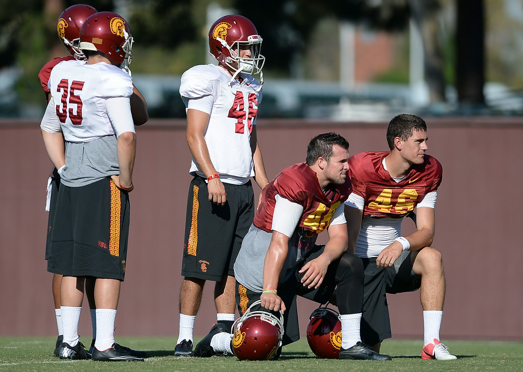. Players look on during practice August 27, 2014 on USC\'s Howard Jones Field.(Andy Holzman/Daily News Staff Photographer)
