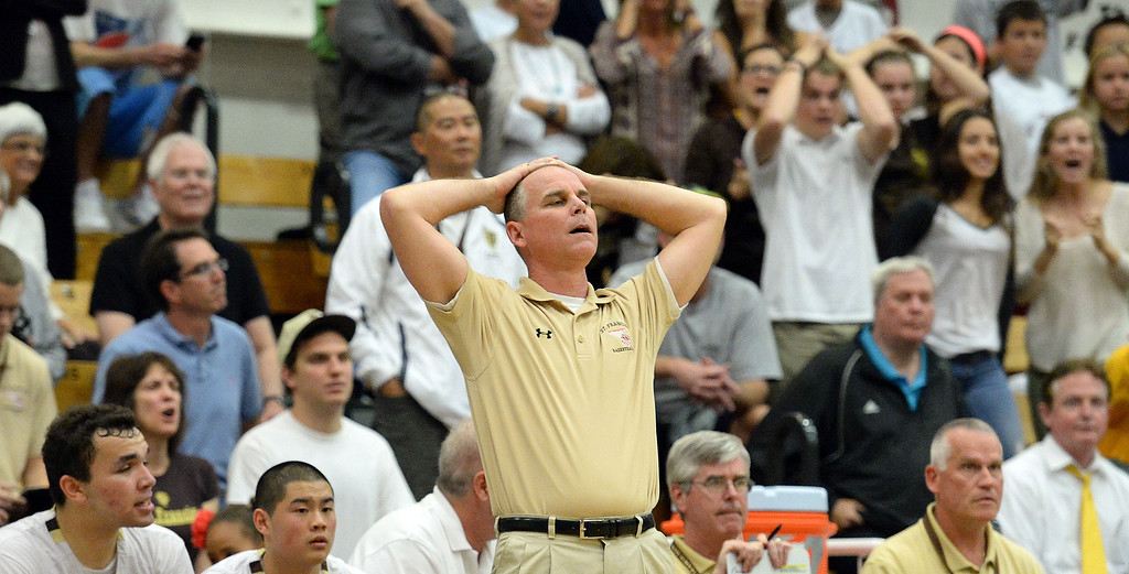 . St. Francis head coach Jeff Stephens, right, reacts, after Oak Park scores in the second half of a CIF-SS Division 3A Championship basketball game against Oak Park at the Felix Event Center on the campus of Azusa Pacific University in Azusa, Calif., on Friday, March 7, 2014. Oak Park won 60-53. (Keith Birmingham Pasadena Star-News)