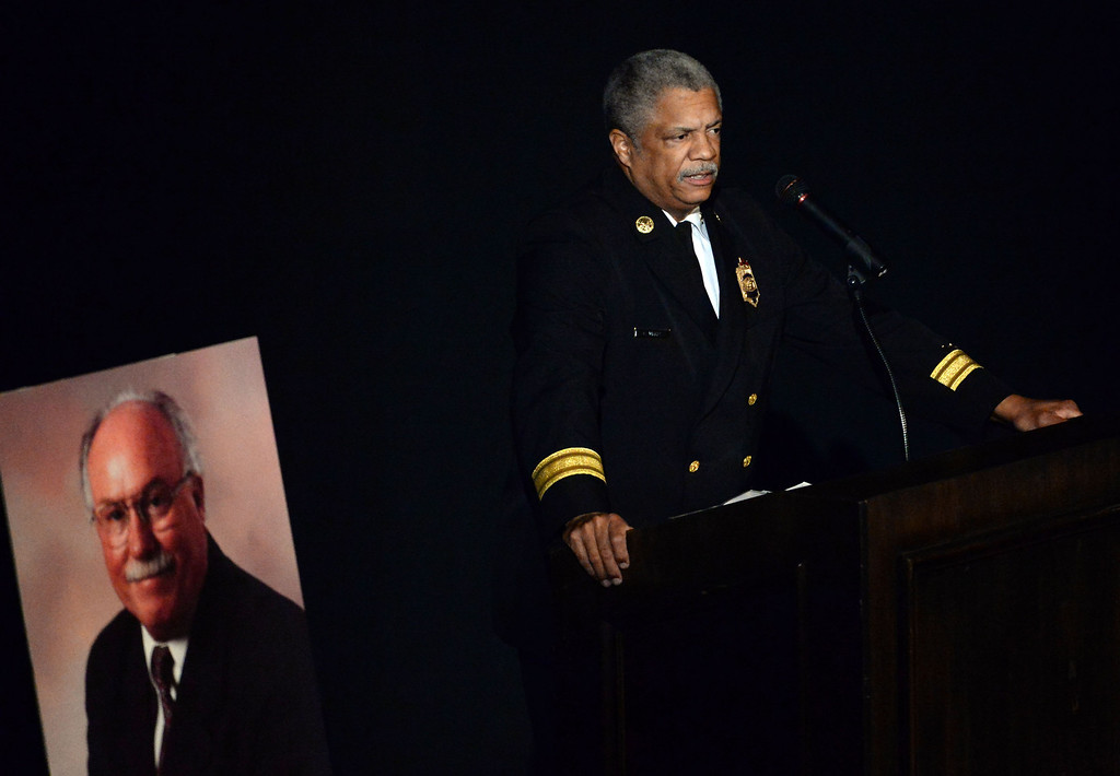 . Pasadena Fire Chief, Calvin E. Wells speaks during a celebration of life service for former Pasadena Fire dept. Capt. and California State fire marshall, John Tennant at the Pasadena Civic Auditorium in Pasadena, Calif., on Wednesday, Feb. 5, 2014. (Keith Birmingham Pasadena Star-News)