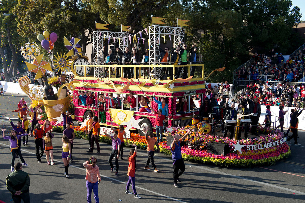 ". Stella Rosa Wines ""Stellabrate Good Times!\"" float during 2014 Rose Parade in Pasadena, Calif. on January 1, 2014. (Staff photo by Leo Jarzomb/ Pasadena Star-News)"