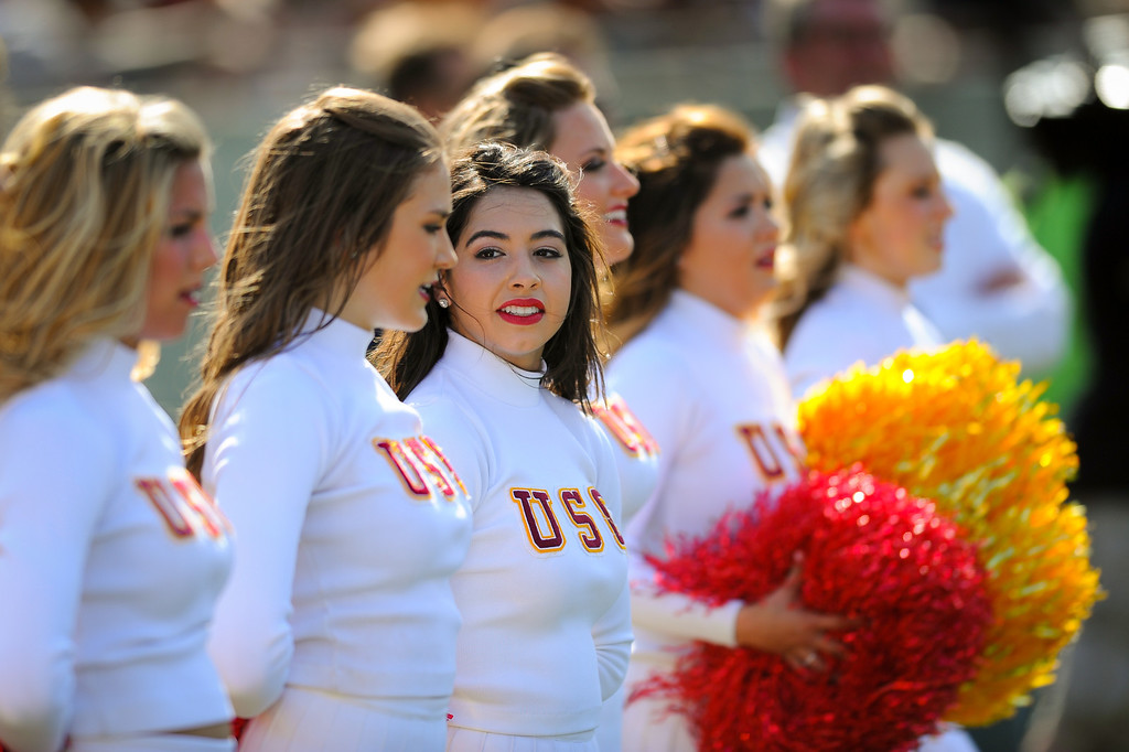 . USC cheerleaders at the spring game. (Photo by Michael Owen Baker/L.A. Daily News)