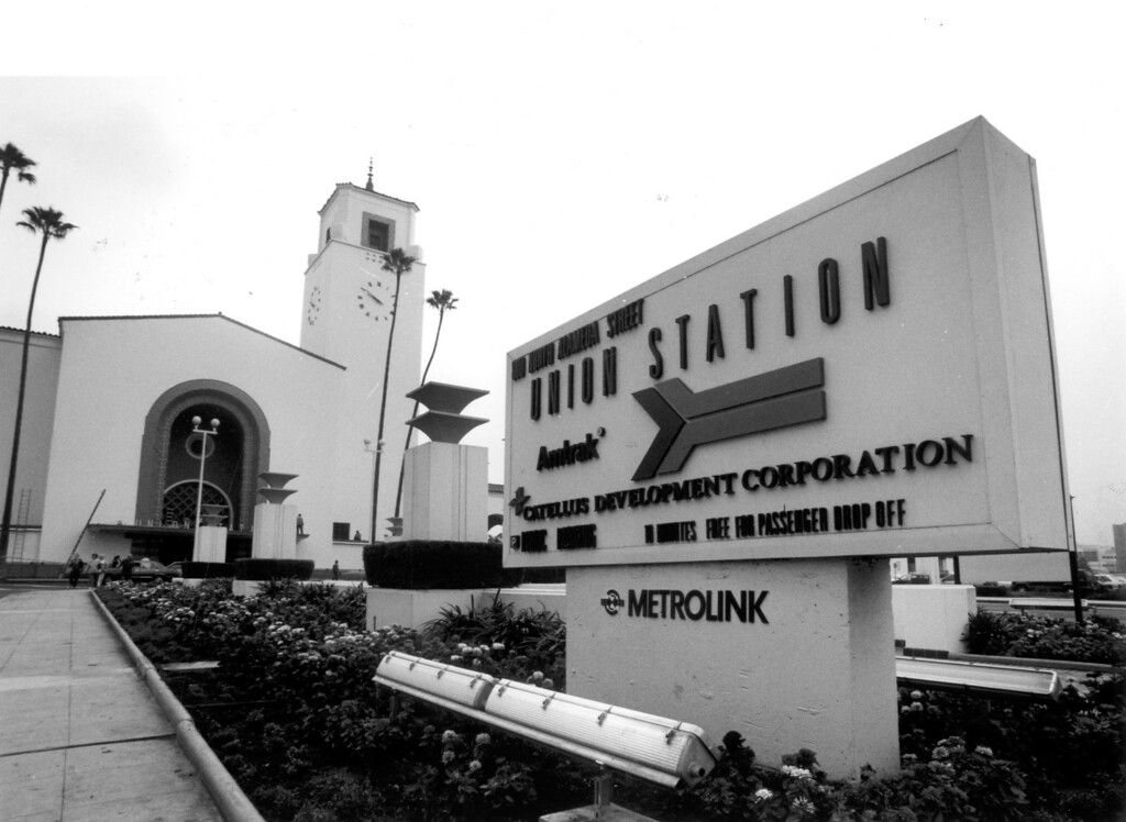 . Union Station in Los Angeles on October 21, 1992, with its eclectic mix of art deco and Spanish-style design, was constructed in 1939 for $11 million.   (David Crane/Los Angeles Daily News)