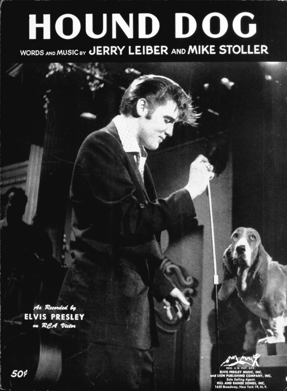 ". Sheet music cover for Lieber and Stoller\'s ""Hound Dog\"", Elvis Presley\'s fourth Billboard pop No. 1 hit, August 4, 1956.  (AP Photo)"