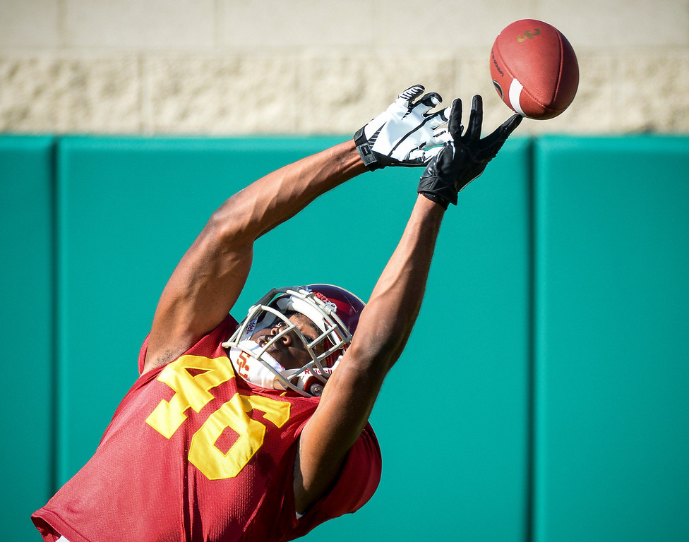 . USC�s Aaron Minor had this pass just out of reach during spring practice at USC Tuesday, April 15, 2014.  (Photo by David Crane/Los Angeles Daily News.)