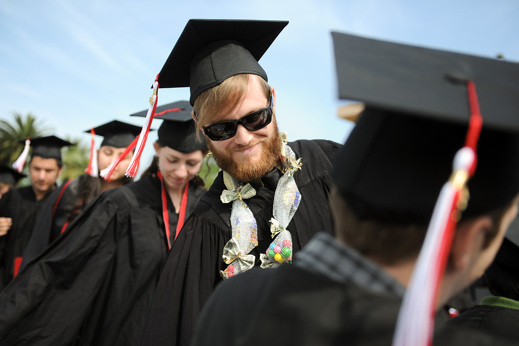 . Animation major Tyler Rodriguez at the CSUN commencement ceremony, Tuesday, May 21, 2013. (Michael Owen Baker/L.A. Daily News)