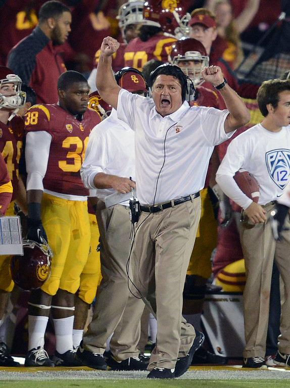 . USC interim coach Ed Orgeron reacts during their game against Arizona at the Los Angeles Memorial Coliseum Thursday, October 10, 2013. (Photo by Hans Gutknecht/Los Angeles Daily News)