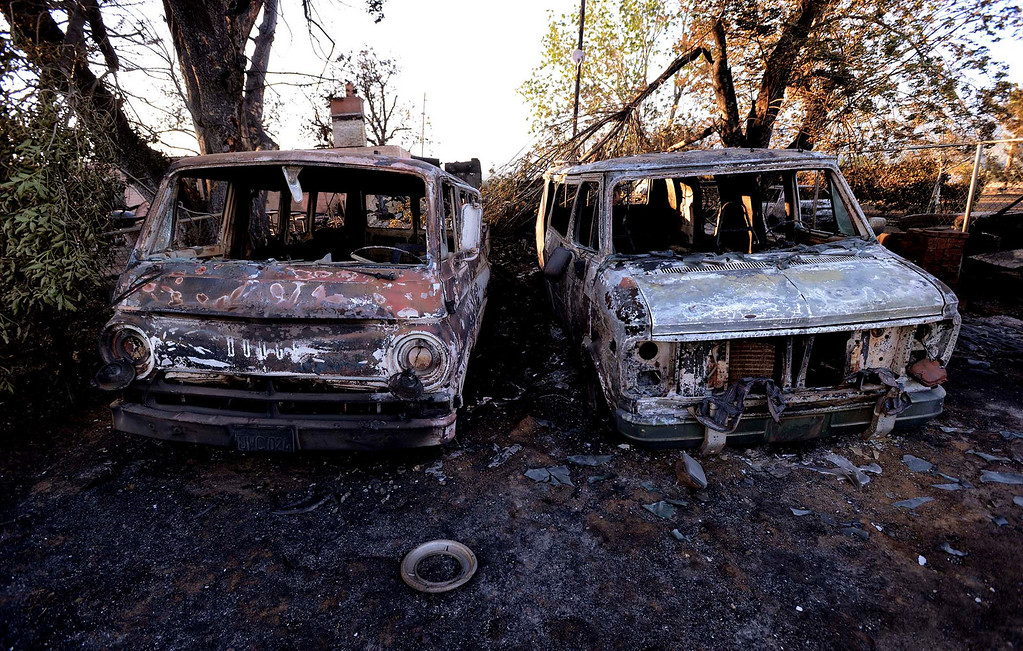 . A view of the garage at the Kiener\'s residence a along Mesa Road in Banning May 2, 2013.  The Kiener residence was the only structure to burn in the Summit Fire.  The fire has burned nearly 3,000 acres and is 40% contained.  GABRIEL LUIS ACOSTA/STAFF PHOTOGRAPHER.