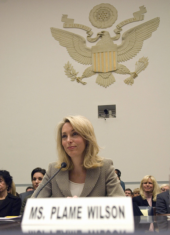 . Washington, UNITED STATES: Former CIA covert agent Valerie Plame Wilson testifies 16 March 2007 before the US House of Representatives Committee on Oversight and Government Reform on Capitol Hill in Washington. Plame testified on the outing of her name while working as a covert agent for the CIA in 2003.    (MANNIE GARCIA/AFP/Getty Images)