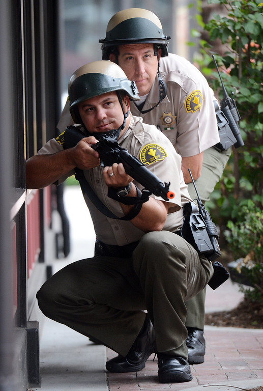 . (Will Lester/Inland Valley Daily Bulletin) Rancho Cucamonga Sheriff deputies and Rancho Cucamonga fire department personnel took part in mock theater shooting training drill Thursday morning August 1, 2013 at Victoria Gardens in Rancho Cucamonga.