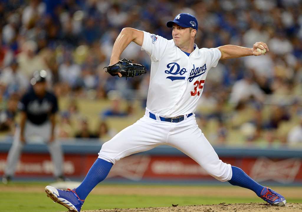 . Los Angeles Dodgers\' Chris Capuano, second pitcher of the game, pitches the fourth inning during game 3 of the NLDS at Dodger Stadium Sunday, October 6, 2013. (Photo by Hans Gutknecht/Los Angeles Daily News)