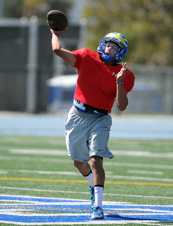 . QB Josh Avila during practice at San Dimas High School on Friday, Aug. 9, 2013 in San Dimas, Calif.   (Keith Birmingham/Pasadena Star-News)