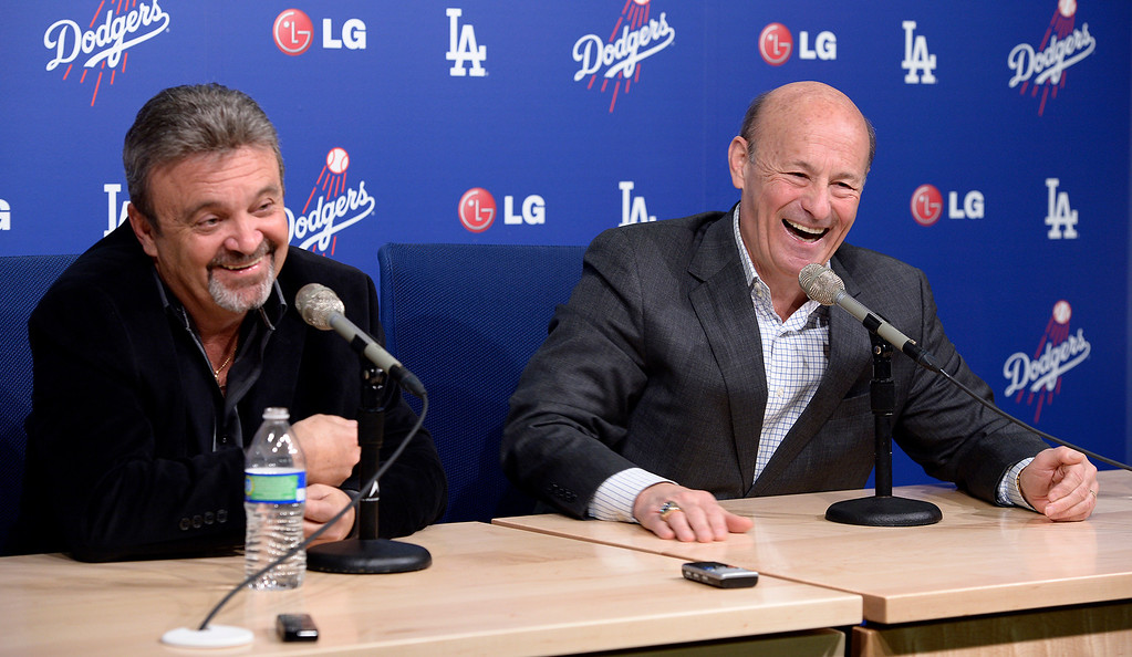 . Dodger General Manager Ned Colletti and President and part Dodger Owner Stan Casten held a press conference at Dodger Stadium to formally announce the $215 million contract for pitcher Clayton Kershaw. Los Angeles, CA January 15, 2014.(John McCoy/Los Angeles Daily News)