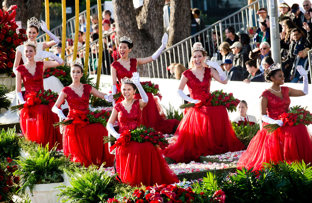 ". The 96th Tournament of Roses Rose Queen Ana Marie Acosta and the six princesses of Royal Court ride in Macy\'s ""Presenting the Royal Court\"" float during 2014 Rose Parade in Pasadena, Calif. on January 1, 2014. (Staff photo by Leo Jarzomb/ Pasadena Star-News)"