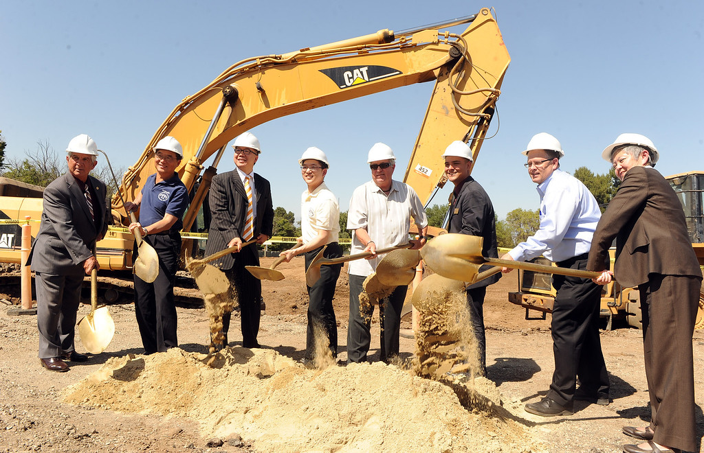 . Los Angeles County Supervisor Don Knabe, fourth from right, and Jay Chen along with many others break ground break for the new Hacienda Heights Community Center at the former site of Hillgrove School on Thursday, March 2, 2013 in Hacienda Heights, Calif.    (Keith Birmingham Pasadena Star-News)